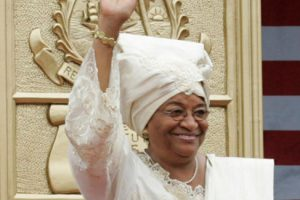 P101606SC-0297 Liberian President Ellen Johnson Sirleaf waves to the crowd attending her inauguration in Monrovia, Liberia, Monday, Jan. 16, 2006. President Sirleaf is Africa's first female elected head of state. Mrs. Laura Bush and U.S. Secretary of State Condoleezza Rice attended the ceremony. White House photo by Shealah Craighead