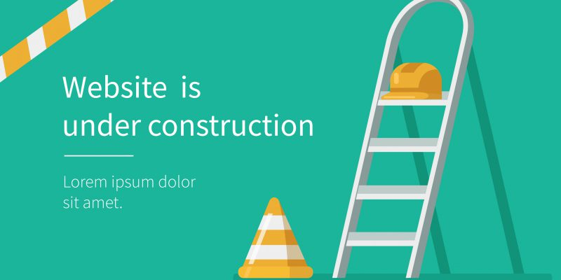 Website under construction page. Flat style vector illustration.